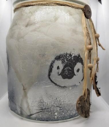 Decorated glassware: Cookie Jar - Penguins