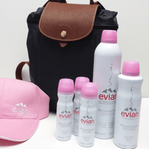 Longchamp backpack and Evian Facial Sprays skin care