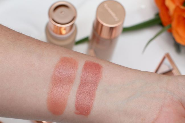 lipstick Swatches Charlotte Tilbury Penelope Pink and Confession