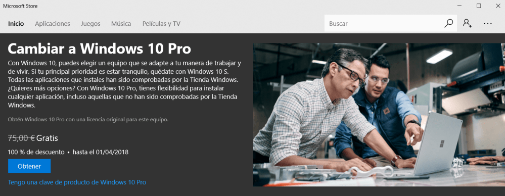 Surface Laptop, actualización a Windows 10 Pro