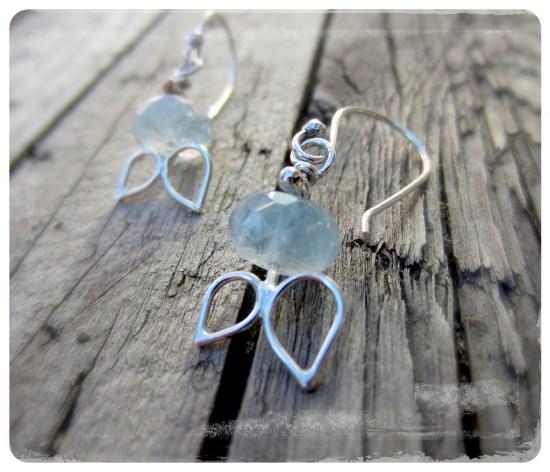 Aquamarine handmade sterling silver earrings