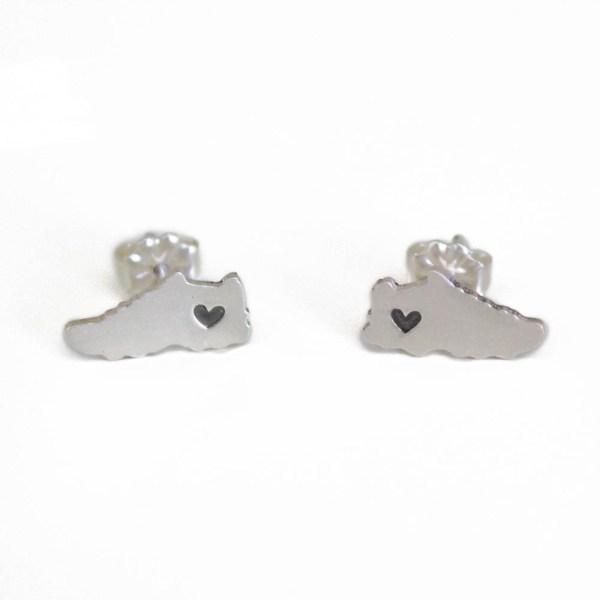 Silver Running Stud Earrings