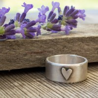 Wide band heart ring