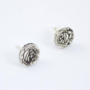 Silver rose stud earrings - Abella Blue