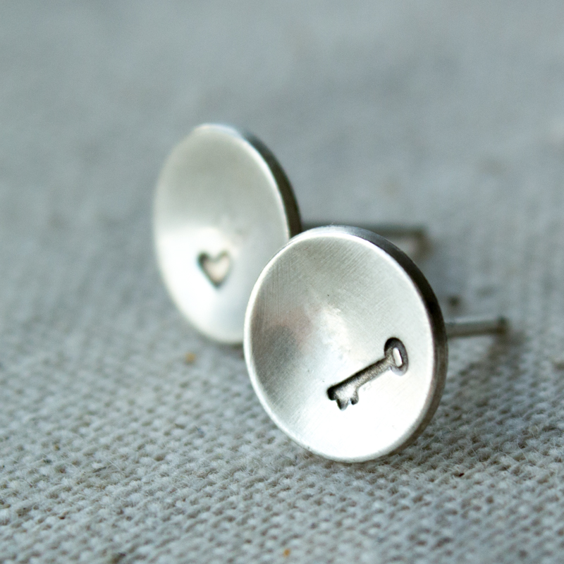 key to my heart stud earrings