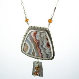 Handmade Crazy Lace Agate Statement necklace by Abella Blue