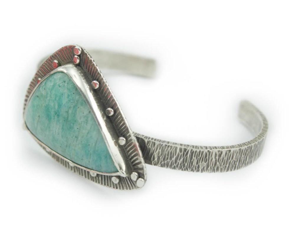 Amazonite Textured Silver Cuff