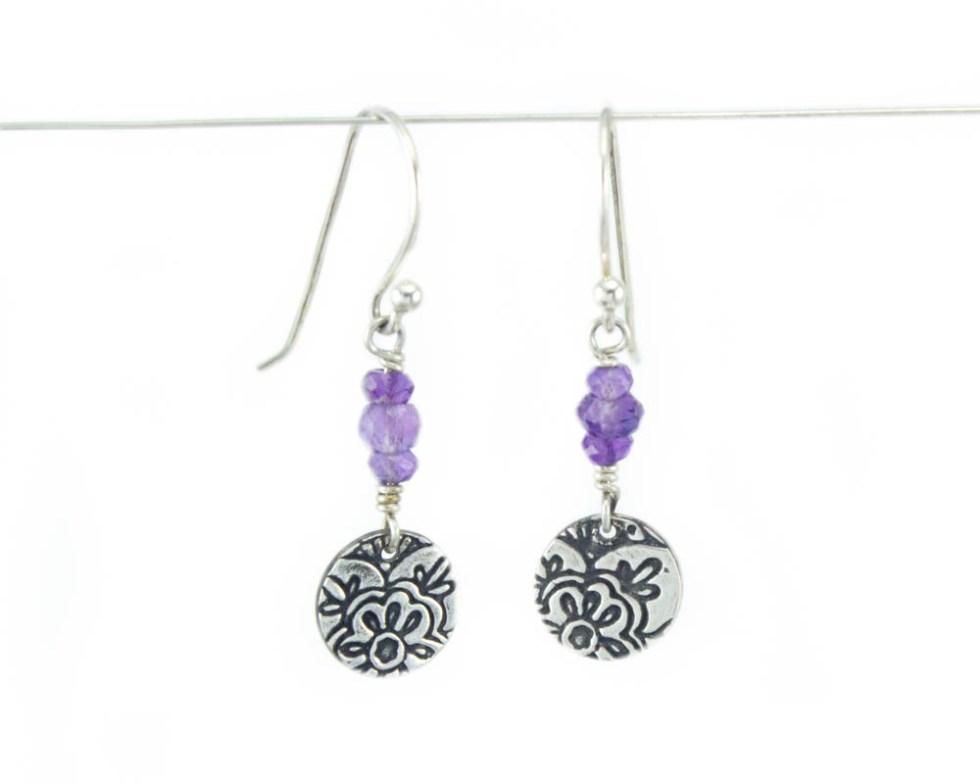 gemstone lotus flower earrings