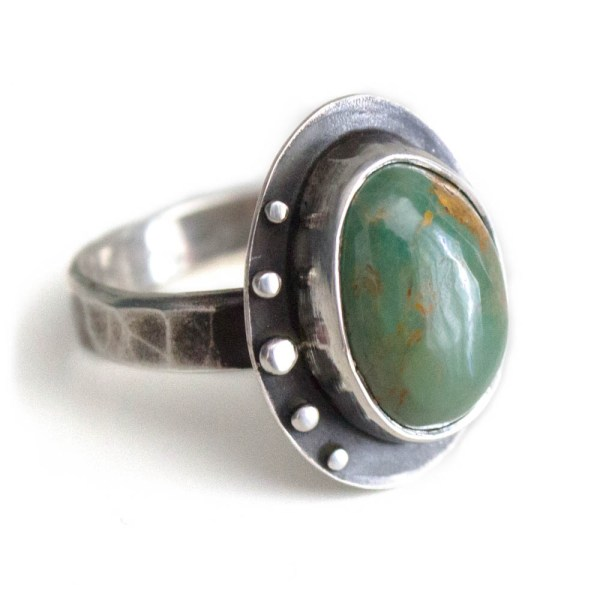 Earthy Green Brown Turquoise Ring