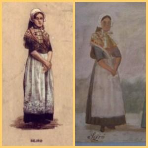 Tv. postkortet fra Børnehjælpsdagen i 1906 og th. udsnit af maleriet på Læsø.