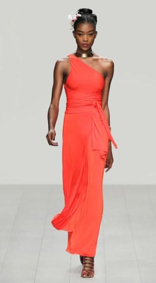 Asymmetrisches Abendkleid rot, Seidenjersey