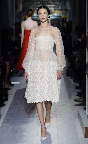Transparentes Spitzenkleid weiß, Valentino