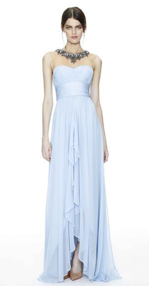 Abendkleid hellblau, Marchesa Notte 2014