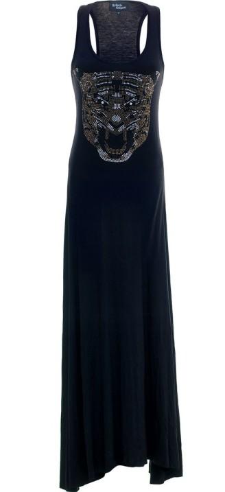 langes schwarzes Kleid mit Tigerkopf