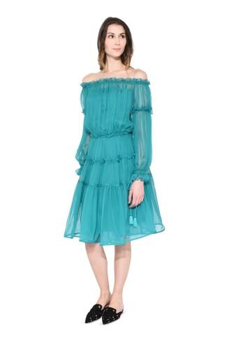 Rüschen-Kleid türkis - Copyright Alberta Ferretti official site