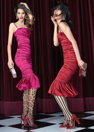Cocktailkleider in rot und zyklame. Copyright Dolce & Gabbana officiel