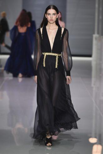 Crêpe de Chine schwarzes Abendkleid langarm mit tiefem Ausschnitt
