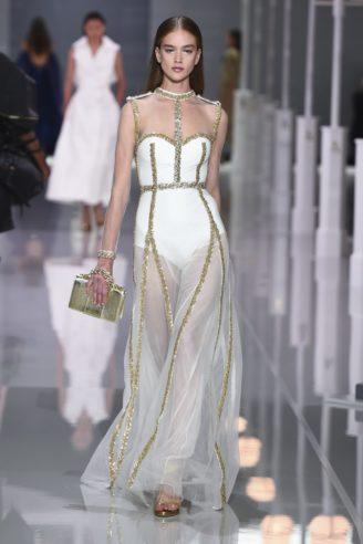 Wunderschönes Abendkleid in Weiß/Gold/Transparent mit undurchsichtigem Body