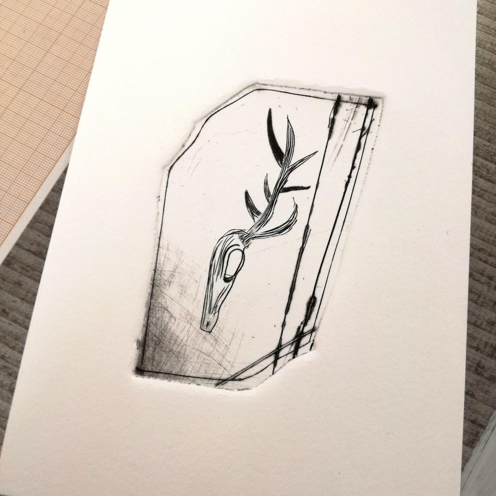 Cerf, plexigravure