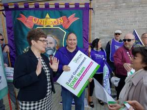 CoSLA President Alison Evison with UNISON negotiators
