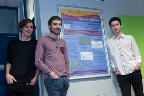 Ysgol Emrys ap Iwan sixth formers Ben Stone, George Goodall and Mike White, whose research project earned them praise from Nobel Prize winner Professor Sir Martin Evans of Cardiff University