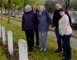 Descendants visit Kirby's grave on the 100th anniversary of his death. Courtesy of Lisa Bell.