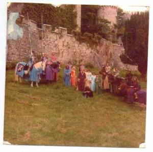 The Crossed Lances cast Gwrych Castle c1979. Castell Gwrych, Abergele. Copyright Karen Linley.