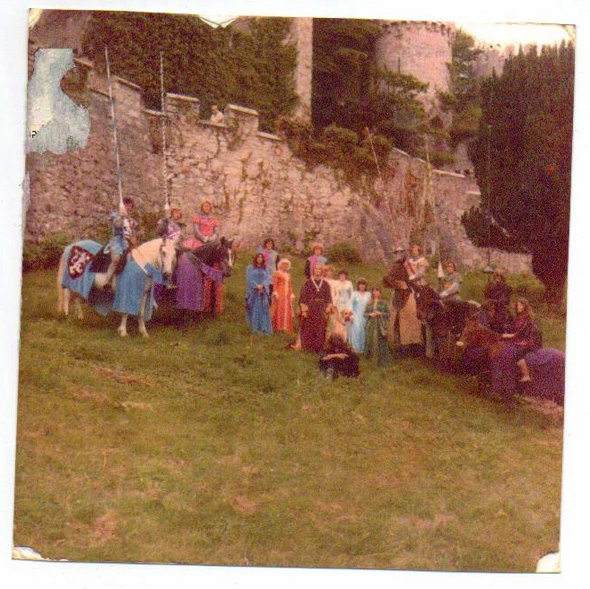 The Crossed Lances cast Gwrych Castle c1979. Castell Gwrych, Abergele. Copyright Karen Linley.