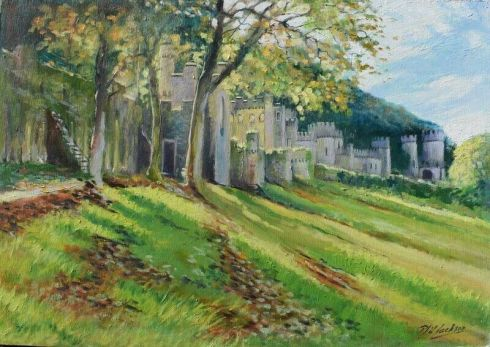 Phil Jackson oil paining of Gwrych Castle, Abergele.