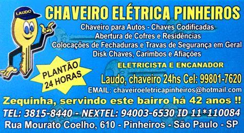 Chaveiro Encanador Eletricista 24h em SP
