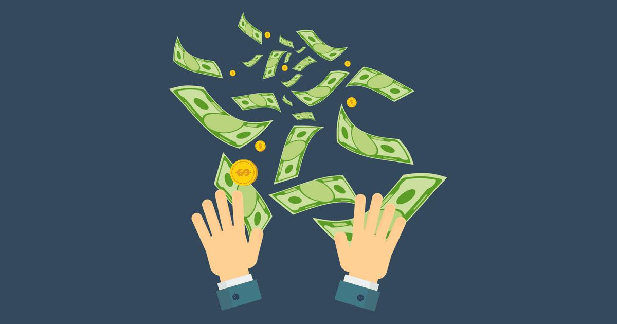 ilustração de uma mão jogando notas de dinheiro, representando o capital de giro