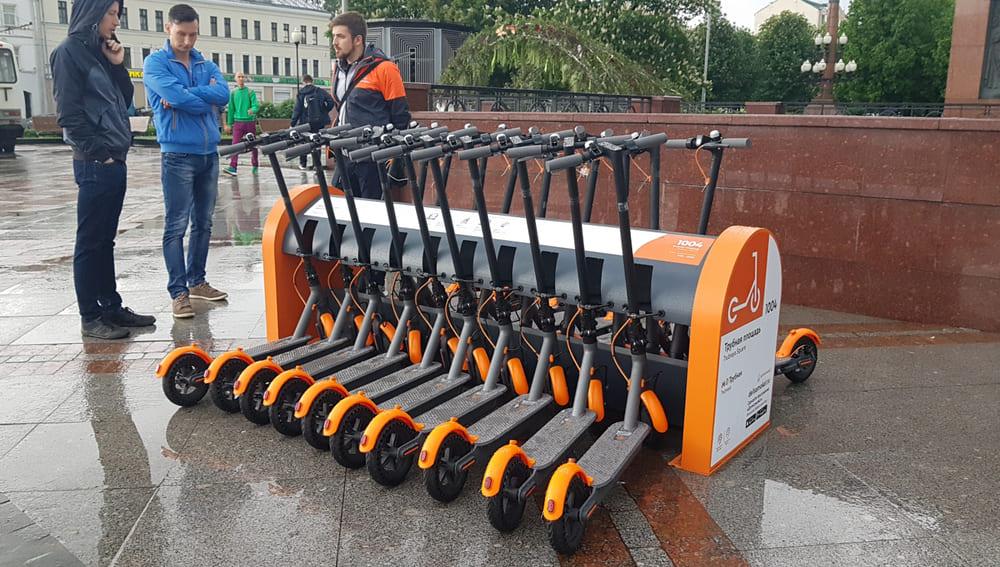 Foto de bicicletas na russia por uma das empresas de economia compartilhada
