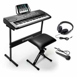 2c88c9fa4a0 Hamzer 61-Key Portable Electronic Keyboard Piano with Stand, Stool,  Headphones & Microphone