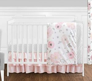 Blush Pink, Grey and White Watercolor Floral Baby Girl