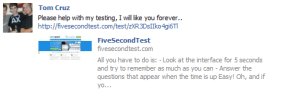 Facebook post with user test link