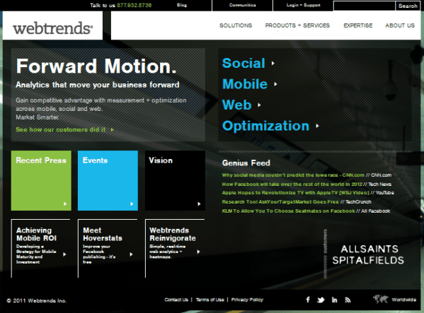 webtrends website screenshot