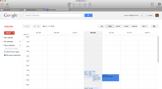 Google Calendar and Gmail for your desktop with Mailplane
