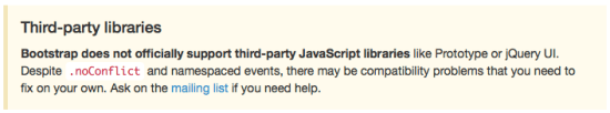 Twitter Bootstrap 3 jQuery No Conflict mode warning