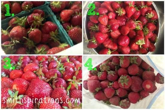 Freezing Strawberries step by step