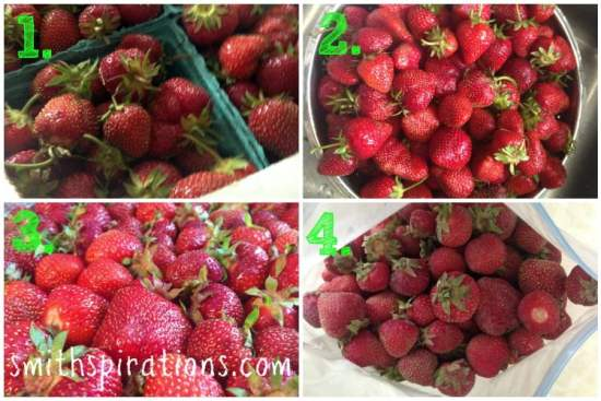 Freezing Strawberries step by step