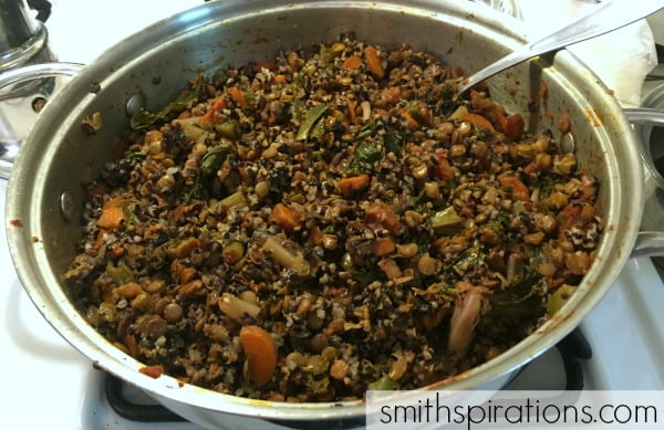 Rice, lentils and veggies easy one-pot meal