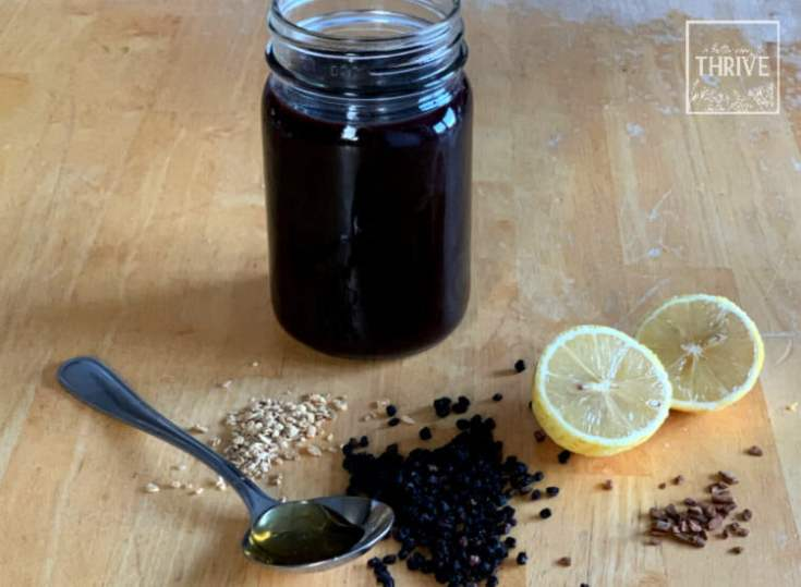 elderberries, lemon, ginger, cinnamon, and honey with syrup