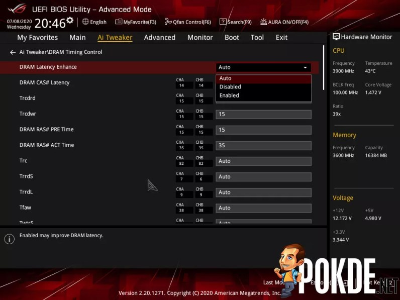 ROG Strix B550-E Gaming memory timing