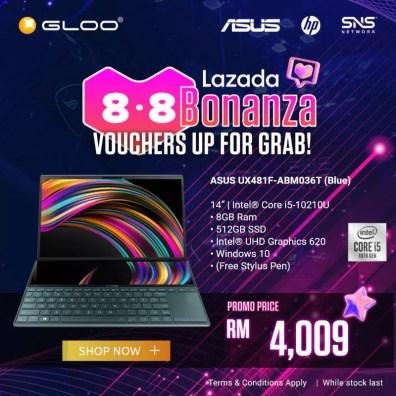 ASUS ZenBook Duo GLOO promo Lazada Bonanza