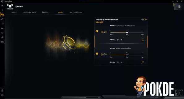ASUS TUF Gaming Dash F15 Review Armoury Crate AI Noise Cancellation