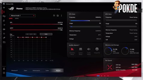 ASUS ROG Zephyrus G14 2021 Review Armoury Crate Manual Mode