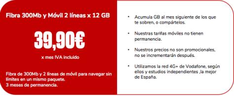 Fibra y dos líneas de Móvil por tan solo 39,90 en Jovellanos Telecom