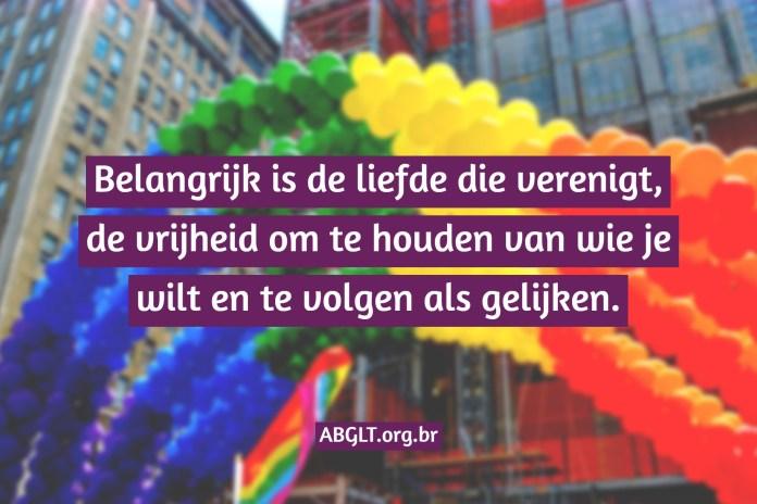 Belangrijk is de liefde die verenigt, de vrijheid om te houden van wie je wilt en te volgen als gelijken.