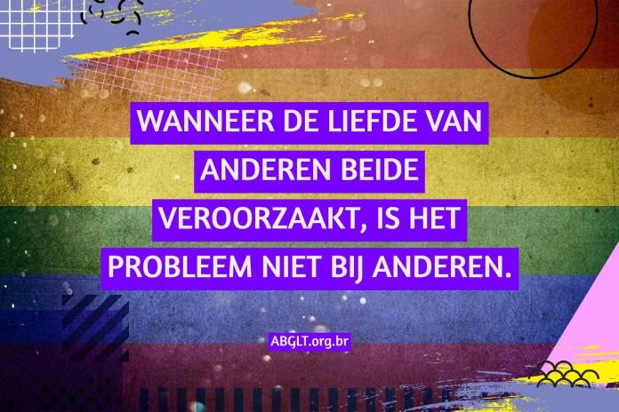 WANNEER DE LIEFDE VAN ANDEREN BEIDE VEROORZAAKT, IS HET PROBLEEM NIET BIJ ANDEREN.