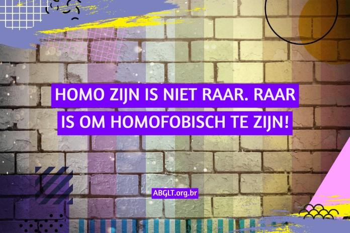 HOMO ZIJN IS NIET RAAR. RAAR IS OM HOMOFOBISCH TE ZIJN!
